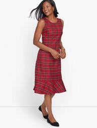 Sleeveless Tartan Sheath Dress