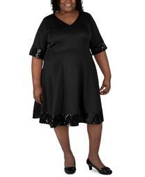 Plus Size Sequin-Trim Fit & Flare Dress