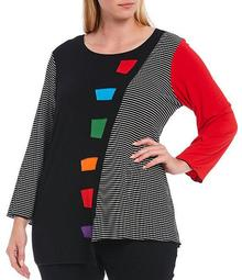 Plus Size Stripe Print Colorblock 3/4 Sleeve Asymmetric Knit Top