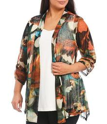 Plus Size Tropical Multi Print Shawl Collar Cinched Sleeve Onion Skin Open Front Jacket