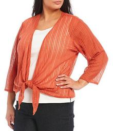 Plus Size Metallic Knit 3/4 Sleeve Tie-Front Cardigan