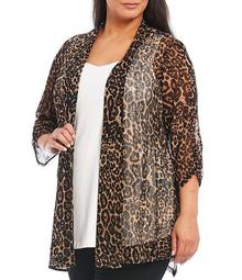 Plus Size Neutral Animal Shawl Collar Cinched Sleeve Onion Skin Open Front Jacket
