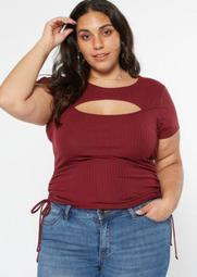 Plus Burgundy Ruched Side Cutout Tee