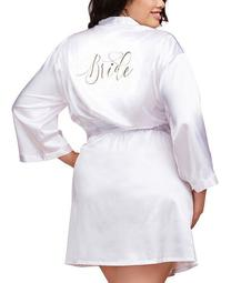 Women's Plus Size Satin Charmeuse Bride Robe with Front Tie Belt