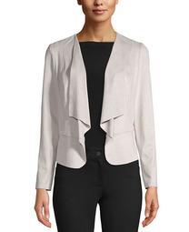 Plus Size Drape-Front Peplum Jacket