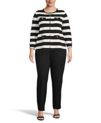 Plus Size Striped Cardigan