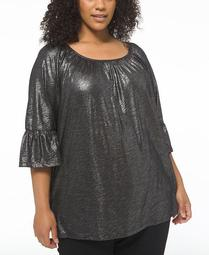 Plus Size Shimmering Scoop-Neck Peasant Top