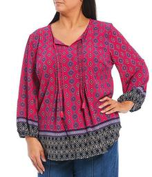 Plus Size Batik Border Print Tassel Tie Scoop Neck 3/4 Sleeve Top