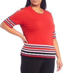 Plus Size Signature Yarn Stripe Print Short Sleeve Crew Neck Top