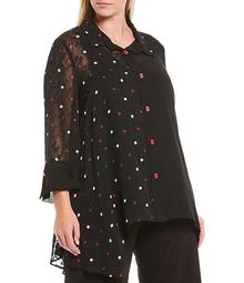 Plus Size Sheer Dot 3/4 Sleeve Asymmetric Button Front Blouse