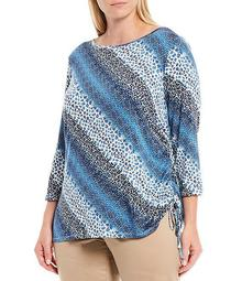 Plus Size Abstract Animal Print 3/4 Sleeve Knit Top