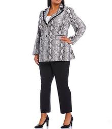 Plus Stretch Crepe Snake Print Contrast Frame Collar Topper 2-Piece Pant Suit