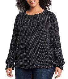 Plus Size Long Sleeve Ruffled Shoulder Polka Dot Print Blouse