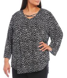 Plus Size Animal Print Crisscross V-Neck 3/4 Sleeve Top