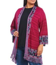 Plus Size Striped Floral Border Print Fringe Trim Open Front Cardigan