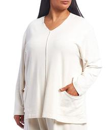 Plus Size Sunday Front Seam French Terry Long Sleeve V-Neck Shirt with Front Pockets