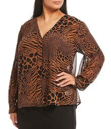 MICHAEL Michael Kors Plus Size Graphic Animal Patchwork Print Georgette V-Neck Long Sleeve Hi-Low Top
