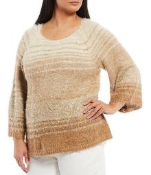 Plus Size Ombre Scoop Neck Raglan Sleeve Metallic Detail Eyelash Sweater