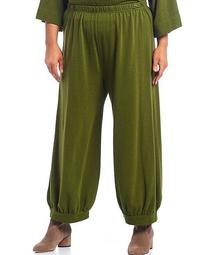 Plus Size Wyatt French Terry Banded Bottom Ankle Pants