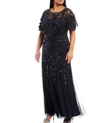 Plus Size Illusion Neck Flutter Sleeve Beaded A-Line Gown