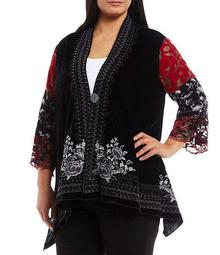 Plus Size 3/4 Sleeve Mixed Media Embroidered Kimono Jacket