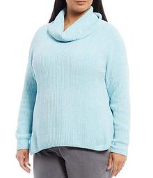Plus Size Cowl Neck Long Sleeve Chenille Pullover Sweater