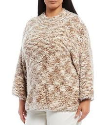 Plus Size Fuzzy Pom Pom Textured 3/4 Sleeve Crew Neck Pullover Sweater