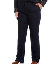 Plus Size Stretch Denim Straight Leg Jeans