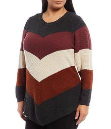 Plus Size Ombre Miter Stripe Long Sleeve V-Shape Hem Sweater