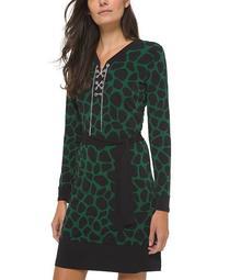 Plus Size Printed Contrast-Trim A-Line Dress
