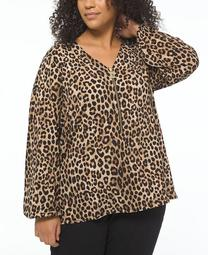 Plus Size Printed Zip-Front Blouse