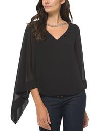 Plus Size Solid Chain-Embellished Sheer-Sleeve Blouse