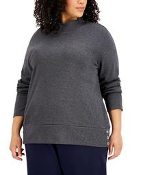 Plus Size Button-Hem Mock-Neck Sweater, Created for Macy's