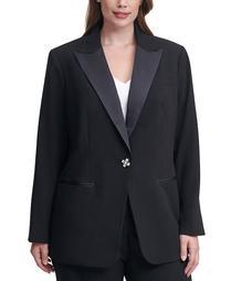 Plus Size Single-Button Tuxedo Jacket