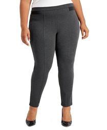 Plus Size Faux-Leather Ponté Knit Pants, Created for Macy's