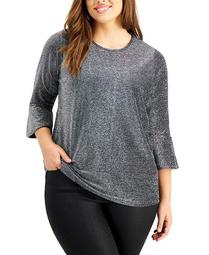 Plus Size Metallic Flare-Sleeve Top