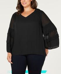 Plus Size Sheer Blouson-Sleeve Blouse