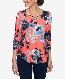 Plus Sizes Women's Neon Floral Print Top