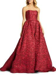 Rose-Print Ball Gown
