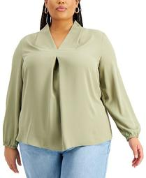 Trendy Plus Size Pleated Top, Created for Macy's