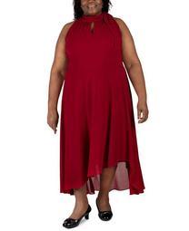 Plus Size Sleeveless Tie-Neck Maxi Dress