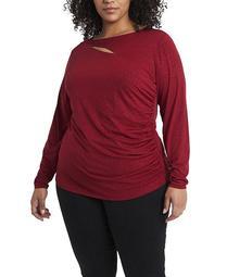 Women's Plus Size Sparkle Jersey Cutout Top