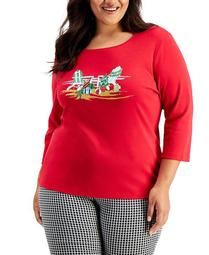 Plus Size Embellished Holiday 3/4-Sleeve Top, Created for Macy's