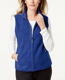 Plus Size Fleece Zip-Front Vest, Created for Macy's