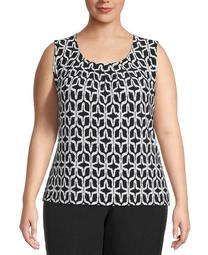 Plus Size Ikat-Print Twisted-Neck Top