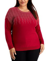 Plus Size Sparkle Lightweight Long-Sleeve Sweater, Created for Macy's