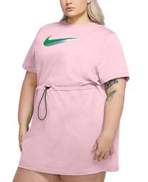 Plus Size Drawstring-Waist Logo Dress