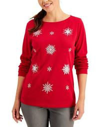 Plus Size Boat-Neck Embellished Snowflake Top, Created for Macy's