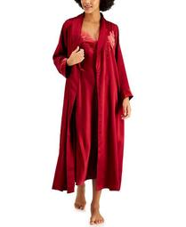 INC Velvet-Appliqué Satin Wrap Robe, Created for Macy's