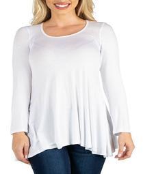 Women's Plus Long Sleeve Swing Style Flared Tunic Top